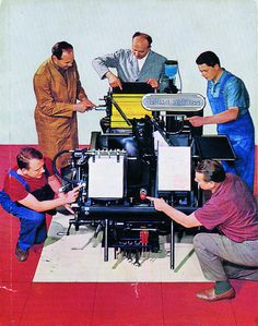 Heidelberg has long been one of the finest printing press manufacturers in the world. You can tell from this 1970's picture of their classic Windmill Letterpress. While most companies would have one or maybe two people tops to point to various bits and pieces on the machine, Heidelberg would settle for no less than five men!