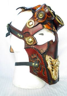 Egyptian leather steampunk full face mask with detachable goggles