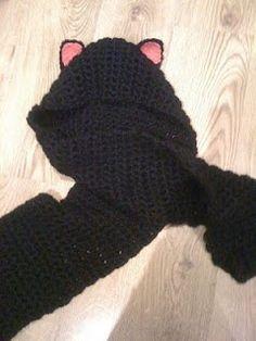 crochet cat scarf pattern | Free Pattern:Hooded Scarf w/ Cat ears | Crochet