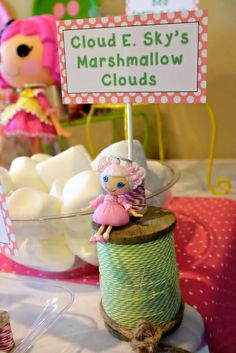 LalaLoopsy Birthday Party marshmallows!  See more party ideas at CatchMyParty.com!