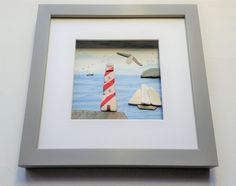 Lighthouse and sailing boats made from sea pottery Coastal Wall Decor, Nautical Wall Art, Unique Mothers Day Gifts, Unusual Gifts, Sea Glass Art, How To Show Love, Box Frames, Red Flowers, Framed Wall Art