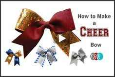 How To Make A Cheer Bow. These bows are perfect for cheering or just for a cute hair bow, gift bow, etc. by Lyndsey Ashworth Cheerleading Hair Bows, Cheer Hair Bows, Softball Bows, Diy Hair Bows, Youth Cheerleading, Softball Hair, Volleyball, Gymnastics, Ribbon Retreat