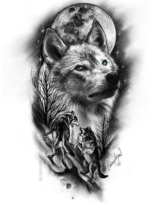 Wolf Tattoos Men, Native Tattoos, Cool Arm Tattoos, Body Art Tattoos, Wolf Tattoo Design, Tattoo Design Drawings, Tattoo Sleeve Designs, Ship Tattoo Sleeves, Wolf Tattoo Sleeve
