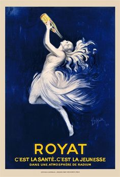 Royat Water by Cappiello 1923 France - Beautiful Vintage Poster Reproduction. This vertical french poster advertising water features a white nymph (woman) drinking a bottle of water on a dark blue background. Giclee advertising print. Classic Posters