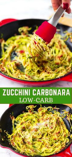 Low carb zucchini carbonara a healthier low carb alternative of a popular italian dish made with spiralized zucchini bacon eggs and parmesan low calorie gluten free light flavorful and delicious vegan avocado pesto Zucchini Carbonara, Pasta Carbonara, Zucchini Noodles, No Calorie Foods, Low Calorie Recipes, Diet Recipes, Cooking Recipes, Healthy Recipes, Vegetarian Recipes