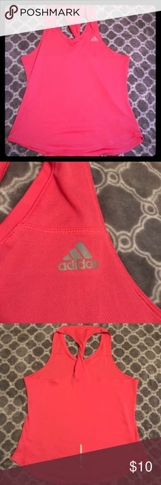 Adidas tank Pink Adidas racerback tank. Twist in back (pictured) for a little extra flare! Hot pink, size XL adidas Tops Tank Tops