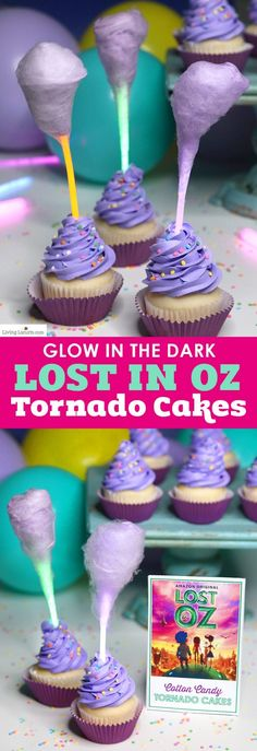 Magical Glow in the Dark Cotton Candy Cupcakes in the shape of a tornado are the perfect treat for watching the new Amazon Original kids series, Lost in Oz. Fun food glow stick cake recipe idea for a kids birthday party. #LostInOz #ad