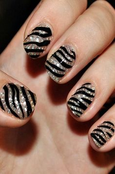 Zebra Print Nails Design, Blingbling zebra-stripe nails for girls  #zebra #nails #christmas www.loveitsomuch.com
