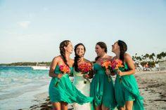 Emerald Green Bridesmaids Dress w. Orange FLowers ++ Starfish decor