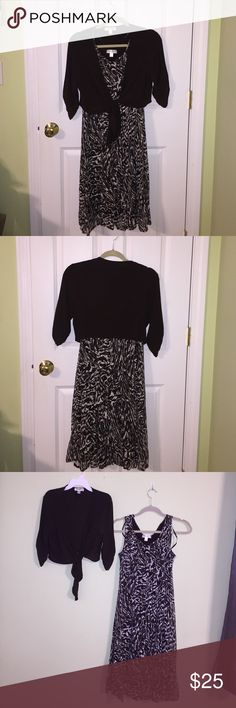 2 peice Dress set size 10. NWOT 2 peice Dress set size 10. NWOT. Flowy Dress with chocolate Brown Color with white patten. Outer material is like a Lacey/mesh style and he cover up is a shiny brown silly stretch material. Super comfy and stylish too. Dress Barn Dresses
