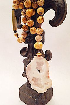 Jasper Beaded Agate Necklace with Vintage Brass Bar & Beads