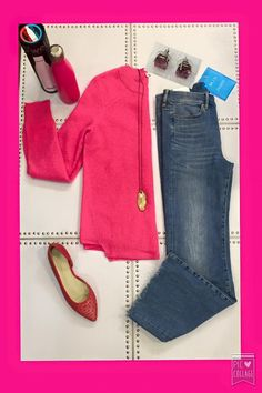 #ootd Pretty in Pink! Hot pink cashmere sweater from White and Warren, hot pink water bottle from S'well , coral flat from Max Mara Weekend, pink Kalibre earring stud, M.i.h Jeans cropped flair denim, Julie Cohn long necklace #shopfayes #shoplocal
