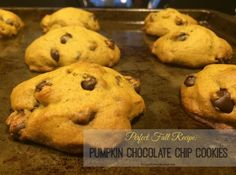 Pumpkin Chocolate Chip Cookie Recipe (from AllRecipes.com). So good, and a great dessert to bake for #Thanksgiving #dessert!
