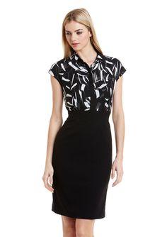 ANNE KLEIN DRESS Printed Sleeveless Twofer Dress