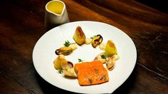 Sous Vide Trout with Confit Leeks, Fennel Purée, Mussels and Pipis with a Lemon Buerre Blanc