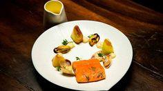 Sous Vide Trout with Confit Leeks, Fennel Purée, Mussels and Pipis with a Lemon Buerre Blanc