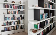 Black and white open-ended bookshelf with concealed low-level storage.