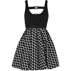 Polka Dot cotton-blend dress ($165) ❤ liked on Polyvore featuring dresses, vestidos, black, sukienki, dot dress, cut out back dress, strap dress, pleated dress and exposed zipper dress