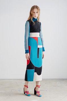Roksanda Resort 2016 Fashion Show Look 5 Fashion Prints, Fashion Art, High Fashion, Fashion Show, Womens Fashion, Fashion Design, Geometric Fashion, Colorful Fashion, Roksanda