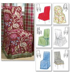 McCalls Home Furnishing / Decorative Sewing Pattern 4404 Chair Cover Essentials Dining Chair Covers, Furniture Covers, Sofa Covers, Diy Furniture, Mccalls Patterns, Sewing Patterns, Metal Folding Chairs, Patterned Chair, Slipcovers For Chairs