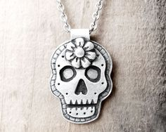Day of the Dead necklace sugar skull Día de los Muertos jewelry calaveras pendant - made to order
