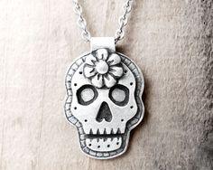 Day of the Dead necklace sugar skull Día de los Muertos jewelry calaveras pendant - made to order