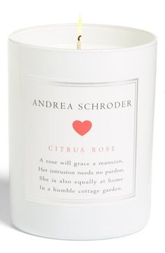 Andrea's personal favorite, Citrus Rose is a graceful floral complemented with a touch of blood orange, sparkling grapefruit, and a hint of jasmine, for the ultimate romantic at heart. http://www.andreaschroder.com/Citrus-Rose-Candle-p/as103.htm Hand-poured and packaged with love, my coconut oil candles burn clean and provide beautiful light. ANDREA SCHRODER is a designer, lifestyle expert and mompreneur. #Citrus #Floral #Romance #Rose #Housewarming #Unique #Novelty #Fragrance #GiftIdeas…