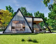 mountain cabin alpine style mobile home vacation house on Behance A Frame House Plans, A Frame Cabin, Modern Mobile Homes, Triangle House, Camping Resort, Round House, Glamping, Tiny House, House Design