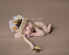 Indian, Indian Headdress, Head Dress, Newborn Headdress, Indian, Newborn, Baby, Crochet, Feather Headdress, Photo Prop, Photography Prop