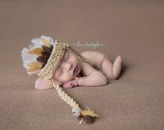 Indian, Indian Headdress, Head Dress, Newborn Headdress, Indian, Newborn, Baby, Crochet, Feather Headdress, Photo Prop, Photography Prop