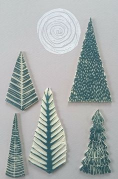 Day 5 Crafted Christmas Advent- Forest at Night Linoprint – Jo Degenhart Christmas Blocks, Christmas Art, Christmas Makes, Christmas Card Designs, Stamp Carving, Handmade Stamps, Fabric Stamping, Linoprint, Stamp Printing