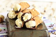 Velvety, crunchy and sweet! Ricotta Ice Cream Filled Cannoli are the perfect summertime treat. Easy to make and perfect for entertaining.