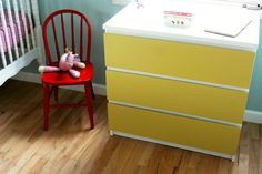 Malm with painted front. For Norah's room? A Bedroom Built for Four Kids' Room Tour   Apartment Therapy