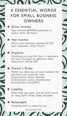 6 Essential Words to Understanding Your Business Finances - Gross Income, Net Income, Small Business, Finance, Accounting. Business Coach, Business Advice, Business Planning, Online Business, Business School, Small Business Plan, Finance Business, Making A Business Plan, Business Education