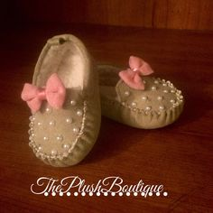 Baby Girl Tan Pearl Moccasins  by Theplushboutique on Etsy https://www.etsy.com/listing/223575498/baby-girl-tan-pearl-moccasins