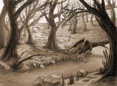 Classic animation background art by John Dobbie (via Behance)