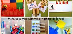 Materiales manipulativos con pinzas de la ropa collage