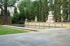 Formal pool with statuary and fountain - bonick landscaping, dallas, tx
