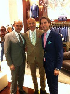 Fabio De Mari, Giorgio Mastrota and Silvio Calvigioni @Tombolini boutique during Milan Design Week