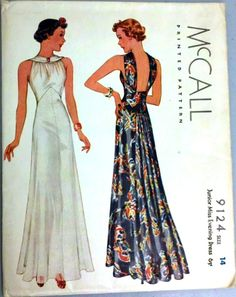 I have no use for a dress like this, but it is just beautiful. McCall 9124 - Vintage Sewing Patterns