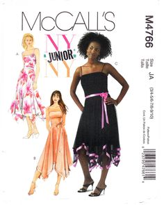 McCall's 4766 M4766 Junior Girls Sewing Pattern Lined Dress Teen Sizes 3/4-5/6-7/8-9/10 Dressy  ----  McCall's+4766+M4766+Junior+Girls+Sewing+Pattern+Lined+Dress+Teen+Sizes+3/4-5/6-7/8-9/10+Dressy