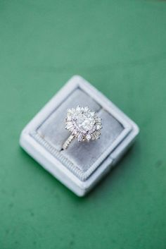 My engagement ring! Oval stone set in a custom Heidi Gibson Gold Gatsby with Pave Band!