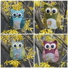 Felt owl decorations. These would be cool as a mobile too I reckon