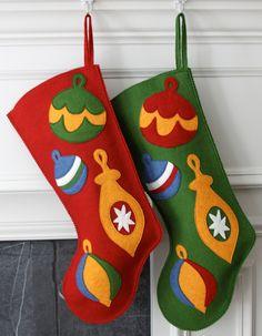 Handmade Wool Felt Christmas Stocking: Celebrate with Vintage Ornaments this holiday! Felt Christmas Stockings, Felt Stocking, Vintage Christmas Ornaments, Stocking Ideas, Felt Ornaments, Shabby Chic Christmas, Victorian Christmas, Pink Christmas, Christmas Morning