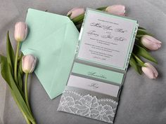 Mint Green and Silver Lace Wedding Invitation by DecorisWedding