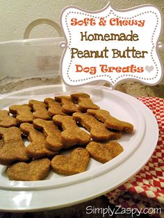 Soft Homemade Peanut Butter Dog Treats using only 3 ingredients!! Quick and Easy, takes only 10 min. To bake! Simply Zaspy