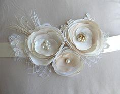 Ivory Wedding Sash Wedding Dress Sash Floral Wedding Belt