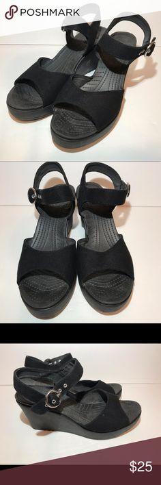 15b1ebc75662 Crocs Wedge Heel Sandals Shoes Womens Sz 9 Black Crocs Wedge Heel Sandals  Shoes. Womens