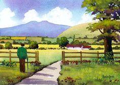 Watercolour Print Farmer In The Brecon by Pamelajonesartstudio