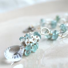 OCEANUS--Rock Crystal and Moss Aquamarine Pearl Sterling Silver Necklace. $268.00, via Etsy.